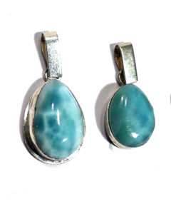 Larimar Teardrop Pendant with Silver