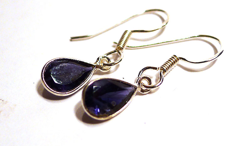 Iolite Teardrop Earrings, small