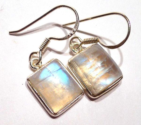 Moonstone Rectangular Earrings in Silver
