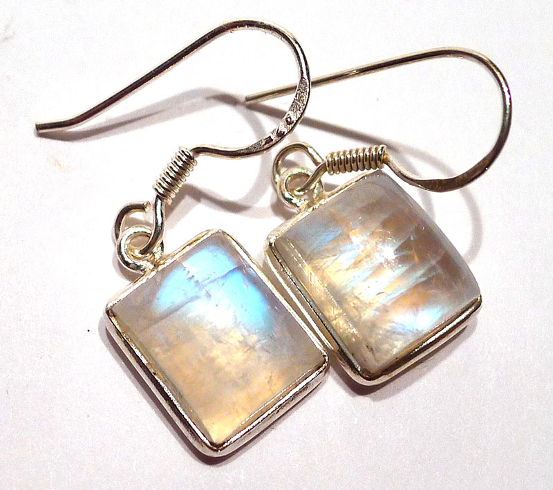 Moonstone Rectangular Earrings in Silver