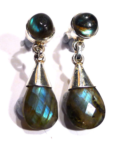 Labradorite and Silver Stud with Faceted Drop Earrings