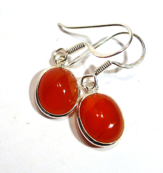 Carnelian and Silver Cabuchon Earrings