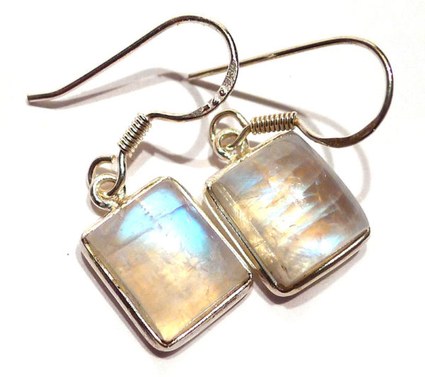 Moonstone Rectangular Earrings in Silver 1