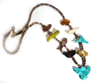 Native American Fetish Necklace with Various Animals and Eagle