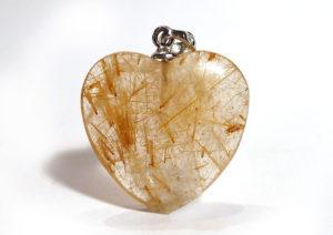 Rutilated Quartz Heart Pendant