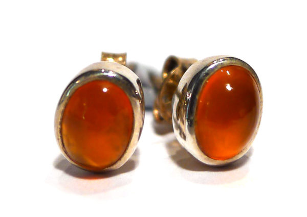 Carnelian Stud Earrings, oval 1