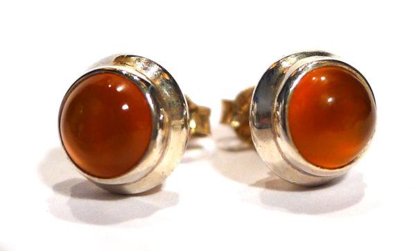 Carnelian Stud Earrings, round 1