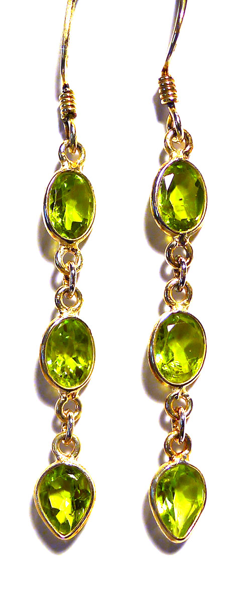 Peridot and Silver Drop Earrings 1