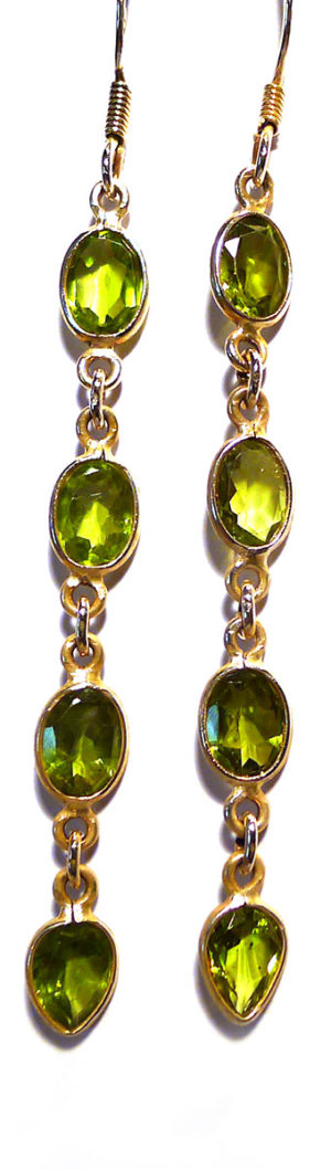 Peridot and Silver Drop Earrings