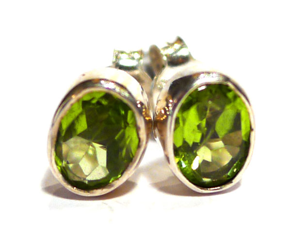Peridot and Silver Stud Earrings 1