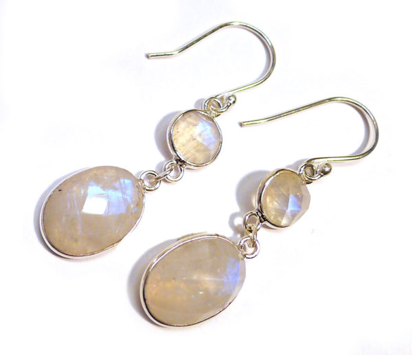 Rainbow Moonstone Faceted Two-Stone Earrings 1