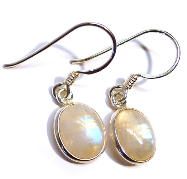 Rainbow Moonstone Oval Earrings 1